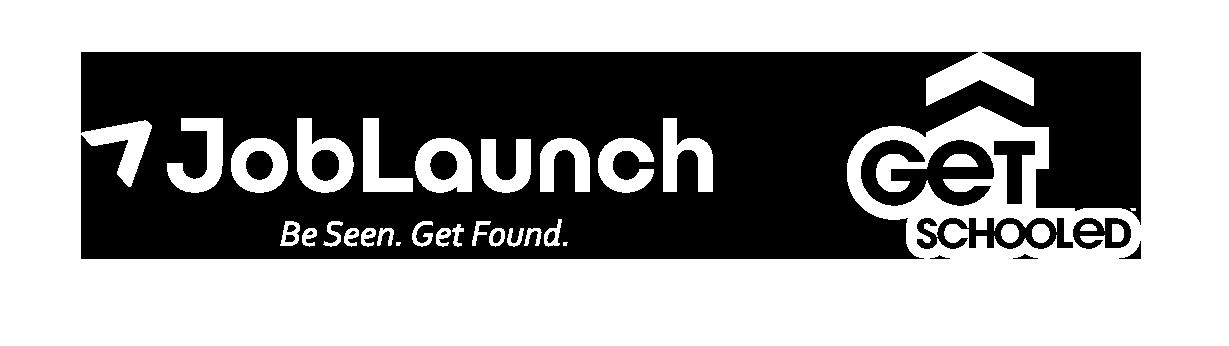 Joblaunch getschooled logo lockup white