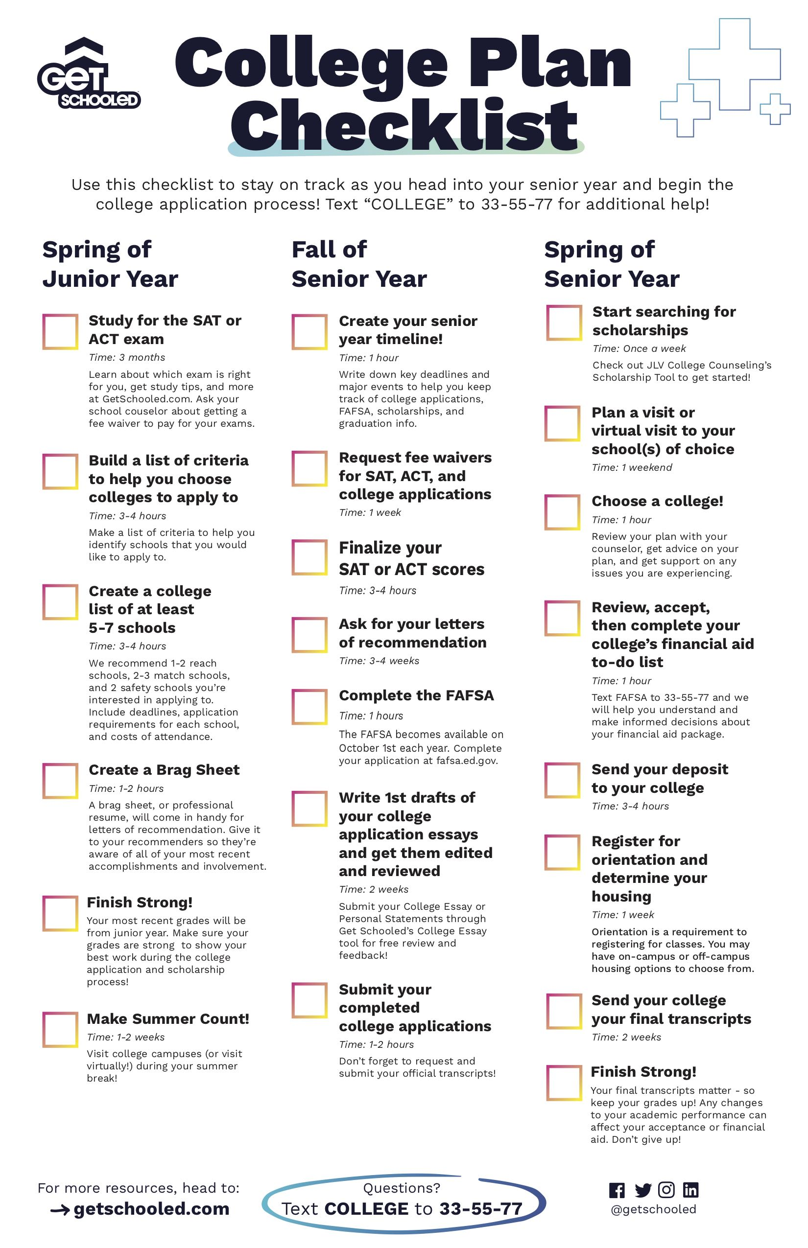 Image of the College Plan Checklist to help students on how to apply to college
